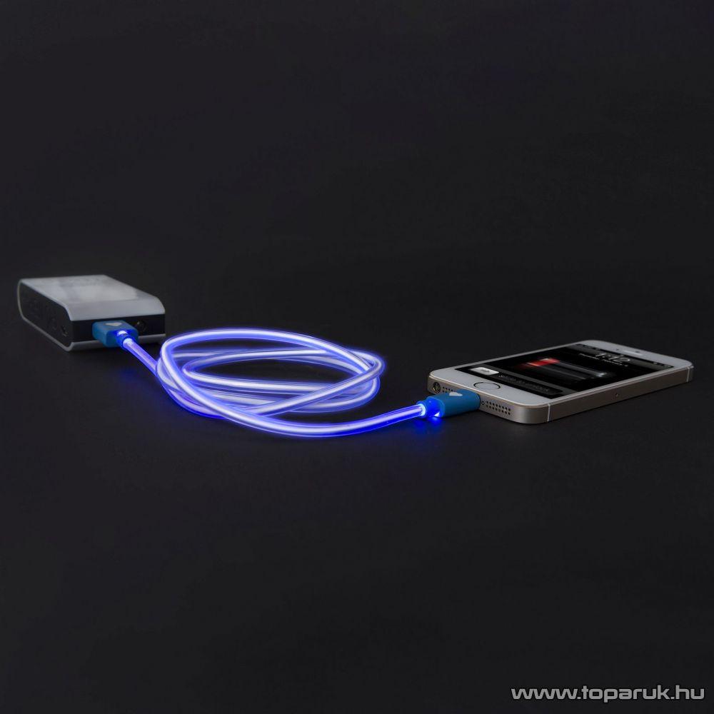 Apple iPhone SE, 5, 5S, 5C, 6, 6 plus / iPod / iPad USB világító adatkábel és töltőkábel, 1 méter, kék színű világítással