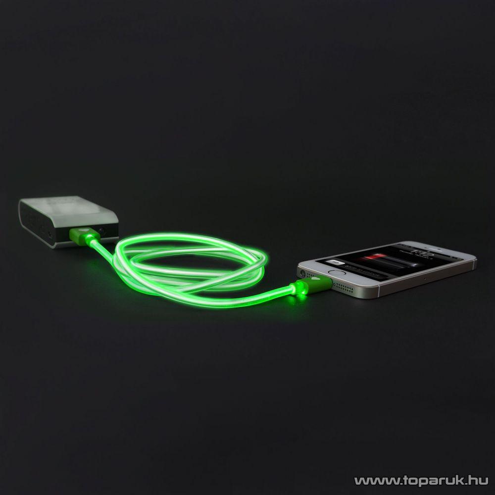 Apple iPhone SE, 5, 5S, 5C, 6, 6 plus / iPod / iPad USB világító adatkábel és töltőkábel, 1 méter, zöld színű világítással