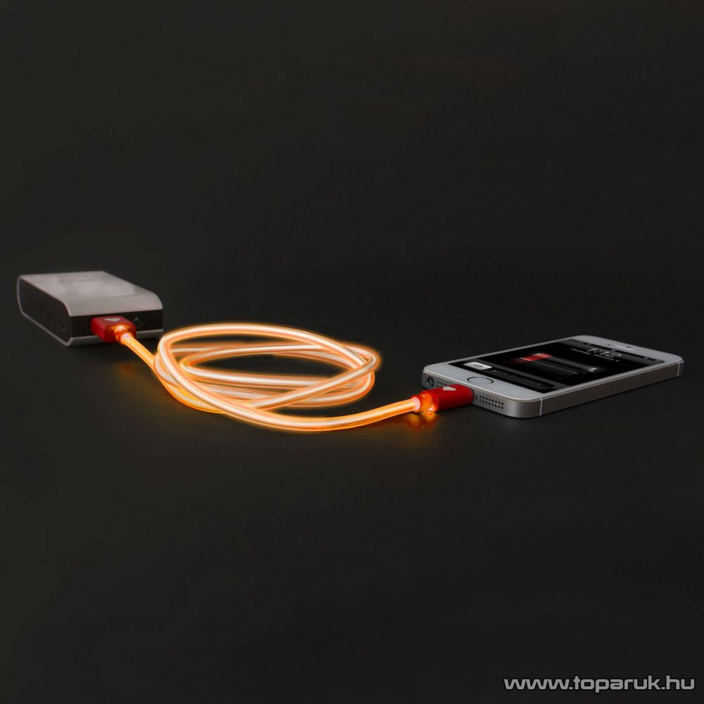 Apple iPhone SE, 5, 5S, 5C, 6, 6 plus / iPod / iPad USB világító adatkábel és töltőkábel, 1 méter, narancssárga világítással