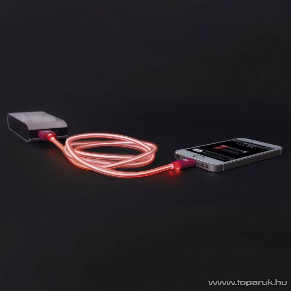 Apple iPhone SE, 5, 5S, 5C, 6, 6 plus / iPod / iPad USB világító adatkábel és töltőkábel, 1 méter, piros színű világítással