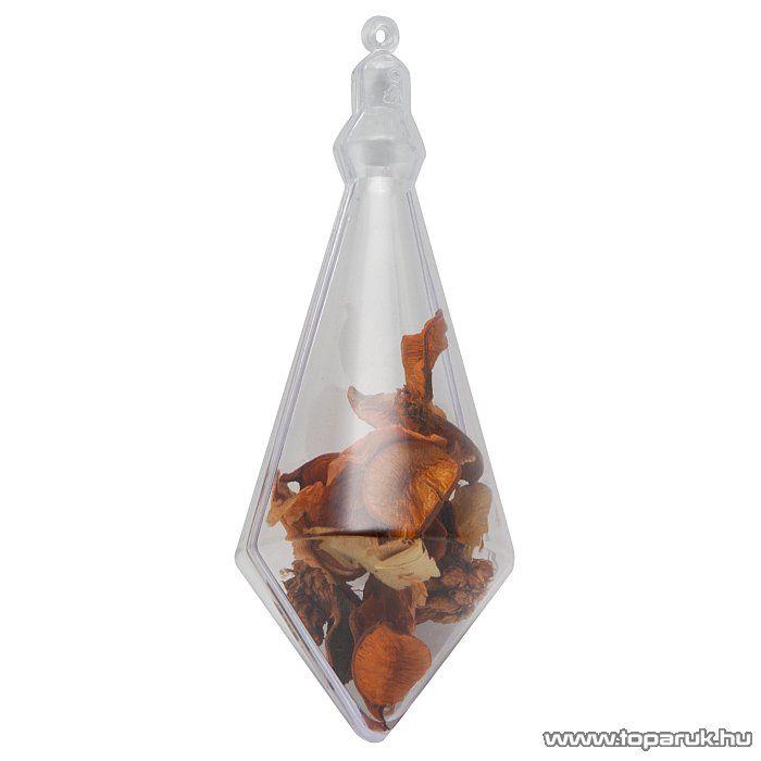Festhető, tölthető, akasztható műanyag Karácsonyi dísz, jégcsap, 140 mm (55912) - készlethiány