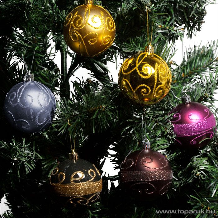 Design Dekor 55921 Karácsonyfa gömbdísz szett, 70 mm (2 db / csomag) - megszűnt termék: 2016. október