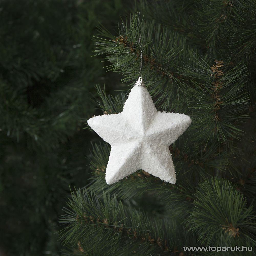 Design Dekor 55952 Beltéri fenyőfa és fenyő girland akasztható dísz, Hókristály csillag, 12 cm, 2 db / csomag