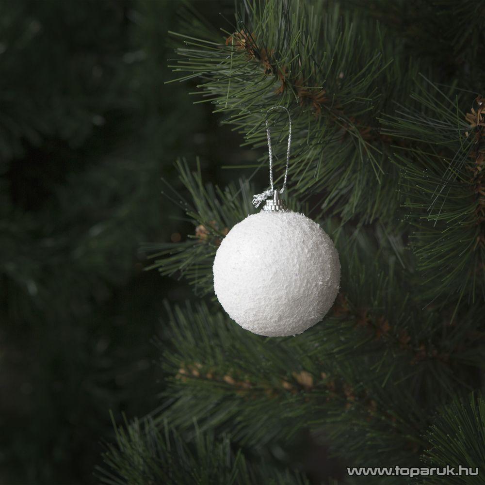 Design Dekor 55954 Beltéri fenyőfa és fenyő girland akasztható dísz, Hókristály gömb, 5 cm, 4 db / csomag