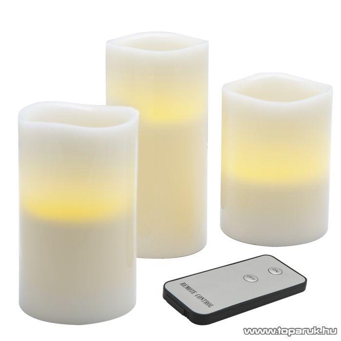 LED-es viaszgyertya szett távirányítóval, 3 db / csomag (56067)