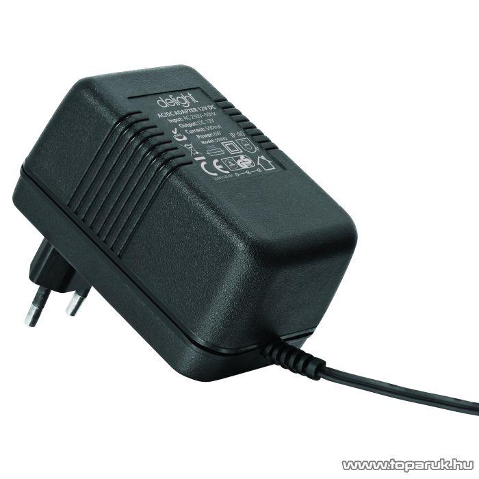 Delight Fix feszültségű hálózati adapter, 12V DC, 500mA (55032)