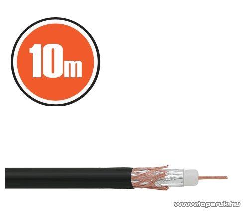 Delight Koax kábel, RG 6, 75 ohm, fekete, 10 m / tekercs (NX20034x10)