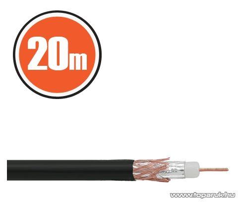 Delight Koax kábel, RG 6, 75 ohm, fekete, 20 m / tekercs (NX20034x20)
