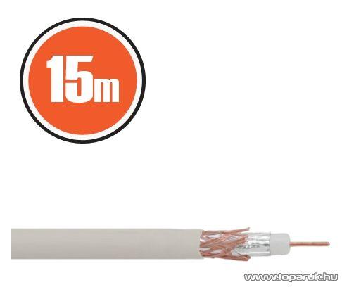 Delight Koax kábel, RG 6, 75 ohm, fehér, 15 m / tekercs (NX20035x15) - megszűnt termék: 2017. április
