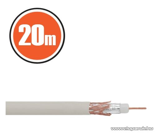 Delight Koax kábel, RG 6, 75 ohm, fehér, 20 m / tekercs (NX20035x20) - megszűnt termék: 2017. április