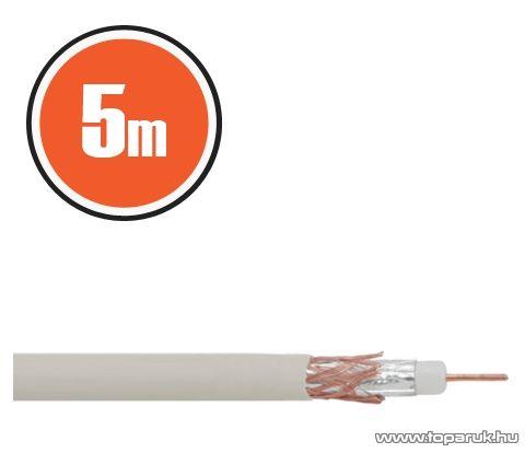 Delight Koax kábel, RG 6, 75 ohm, fehér, 5 m / tekercs (NX20035x5)