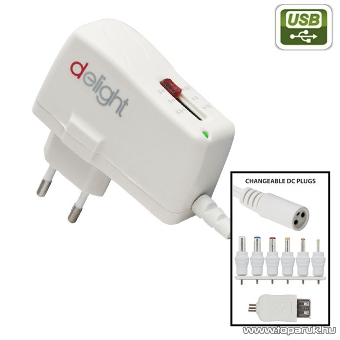 Delight Változtatható feszültségű hálózati adapter, 3V - 7V DC, 2500mA (55021)
