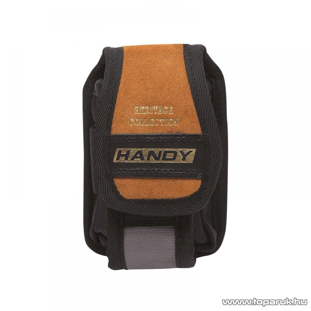 Handy Övre fűzhető prémium minőségű bőr telefontartó tok, tépőzárral, 9 x 14 cm (10264)
