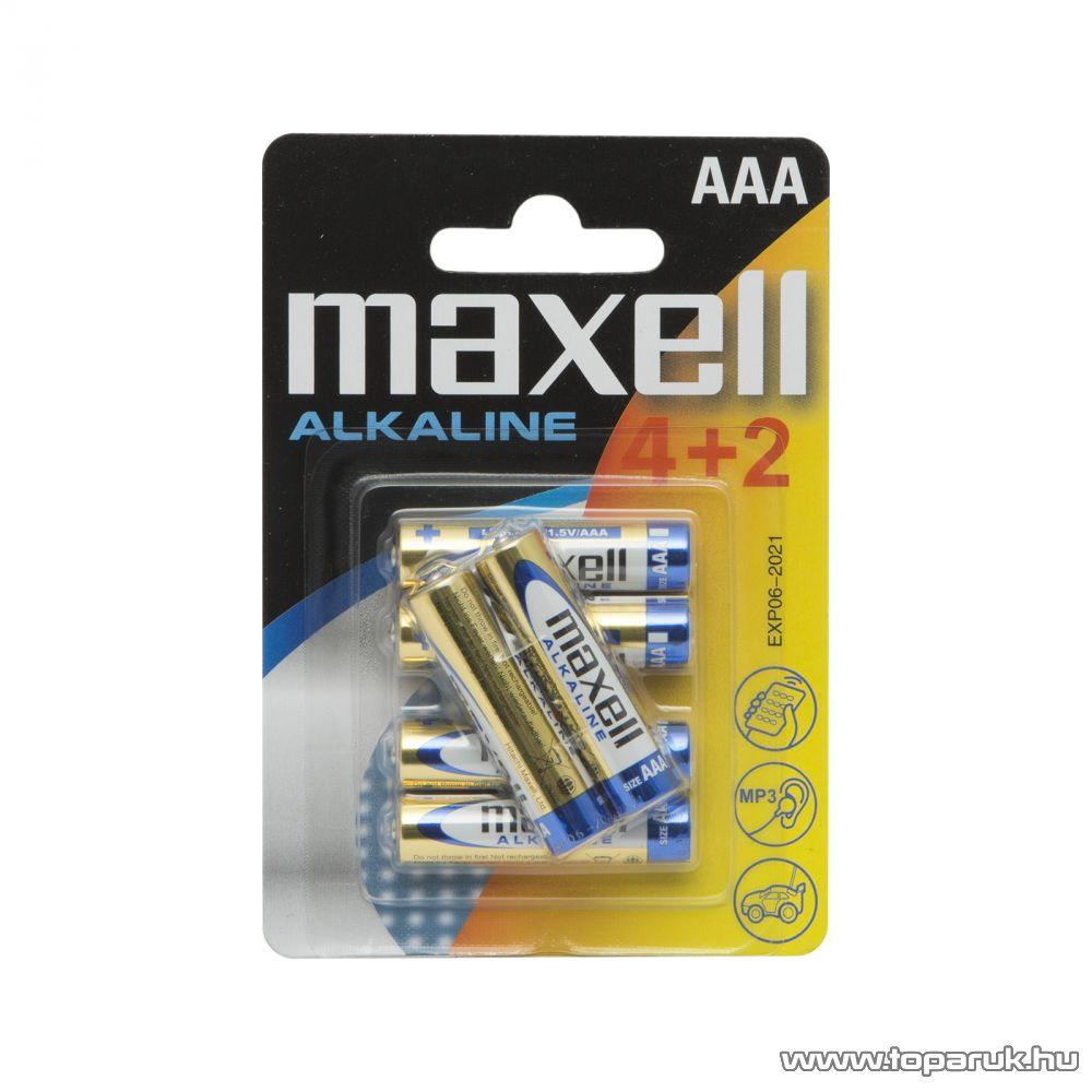 Maxell 18734 Mikro ceruza elem, 1,5V, (AAA, LR3 méret), 4 + 2 db / csomag
