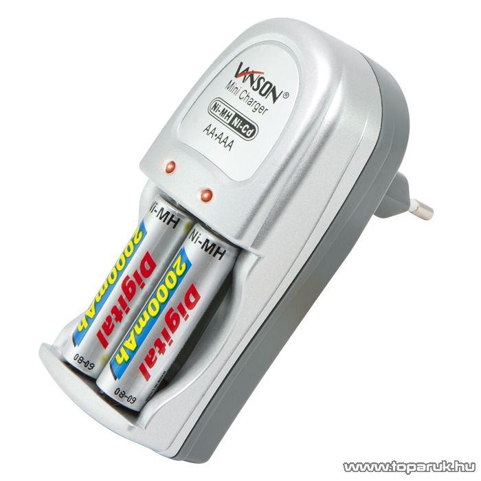 VANSON Akkumulátortöltő 2 x AA / AAA - Ni-MH/Ni-Cd típusokhoz + 2 db 2000 mAh AA Ni-MH ceruza akkumulátor (55024V)