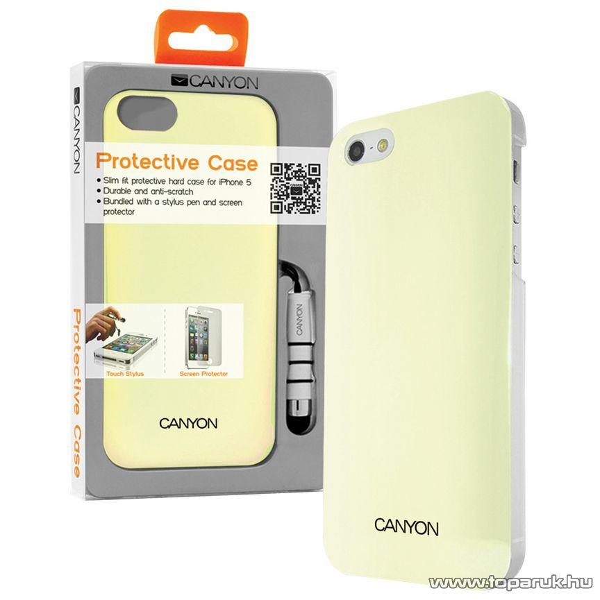 CANYON iPhone SE / 5 / 5s okostelefon tok, kijelzővédő fóliával és stylus tollal, fehér