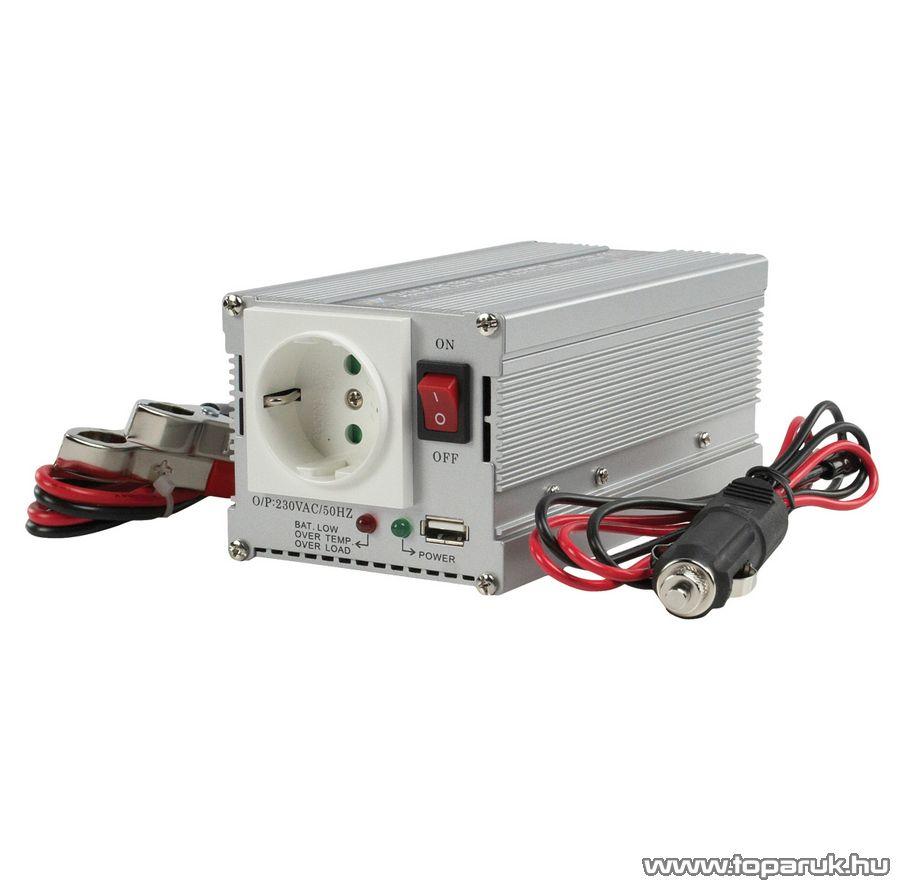 HQ Autós feszültség átalakító, inverter, 300 W, 12 - 230 V (HQ-INV300WU-12)
