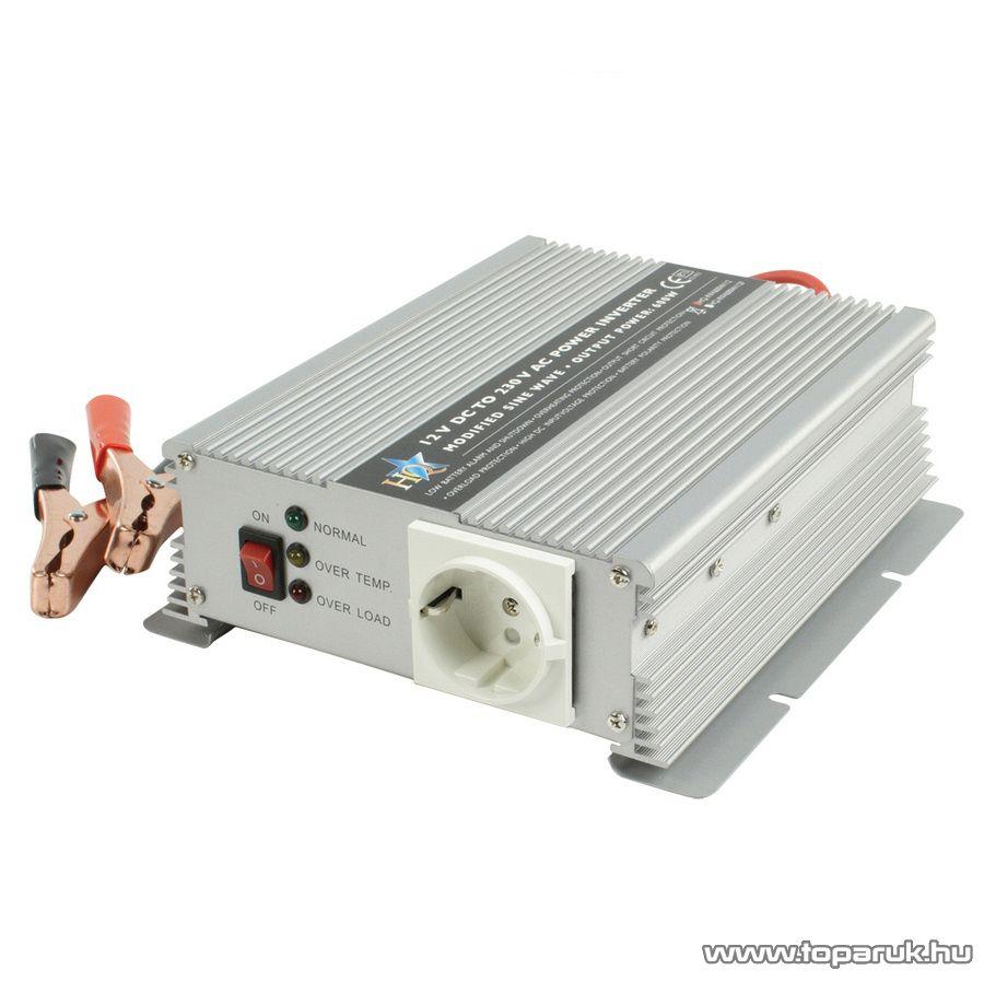 HQ Szinusz hullámú feszültség átalakító, inverter, 600 W, 12 - 230 V (HQ-INV600W/12)