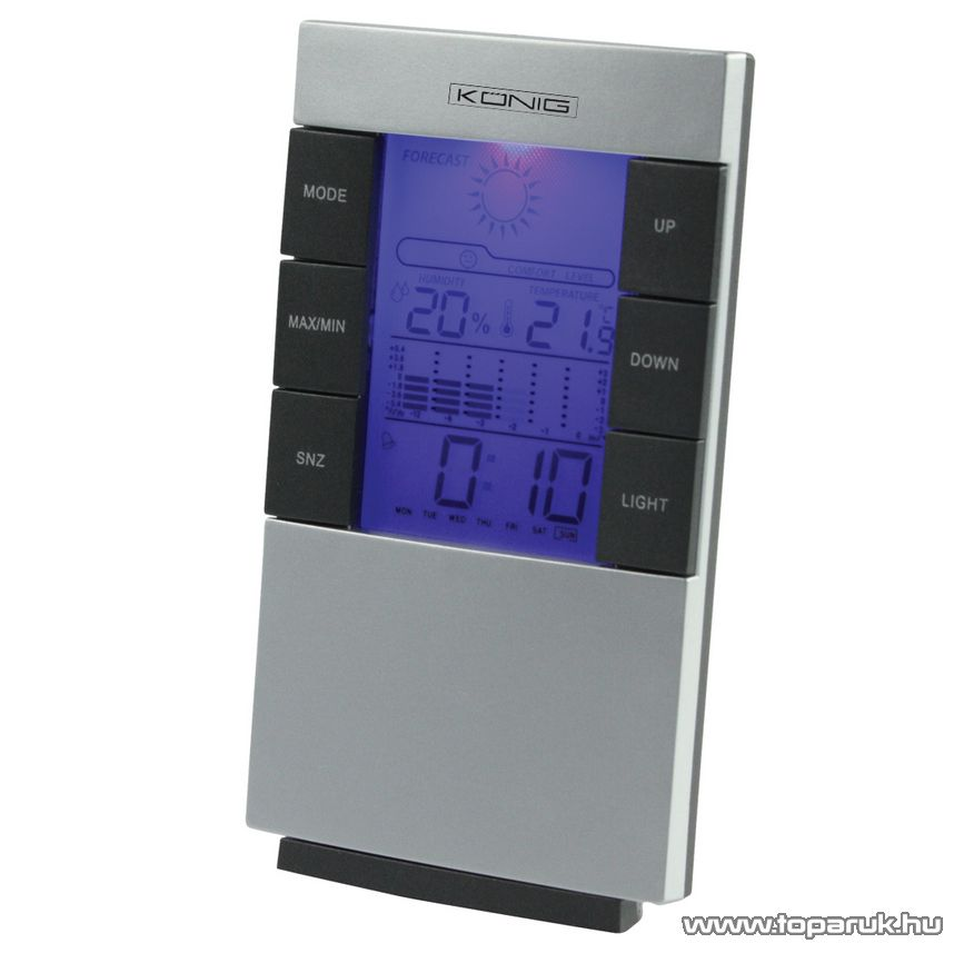 König KN-WS101 Asztali időjárás állomás, digitális óra és hőmérő, páratartalom mérő