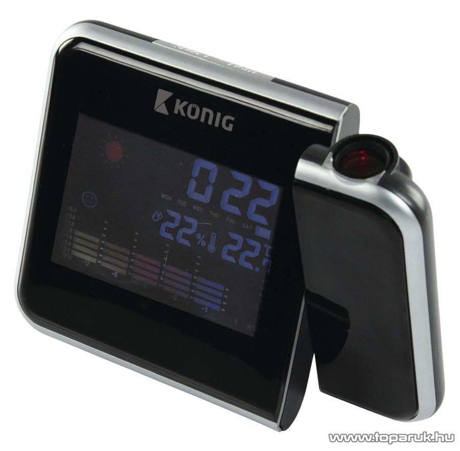 König KN-WS103 Színes kijelzős időjárás állomás projektoros órával