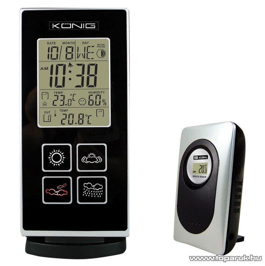 König KN-WS300 Vezeték nélküli időjárás állomás LED ikonos kijelzéssel - Megszűnt termék: 2014. Január