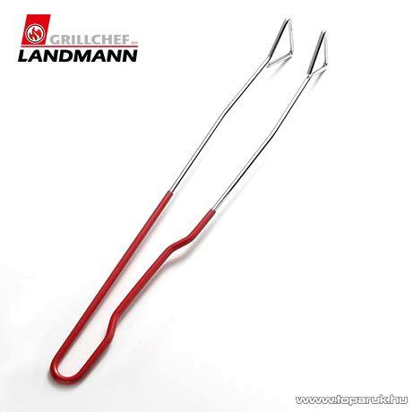 Landmann 0287 Krómozott grillcsipesz, piros nyéllel