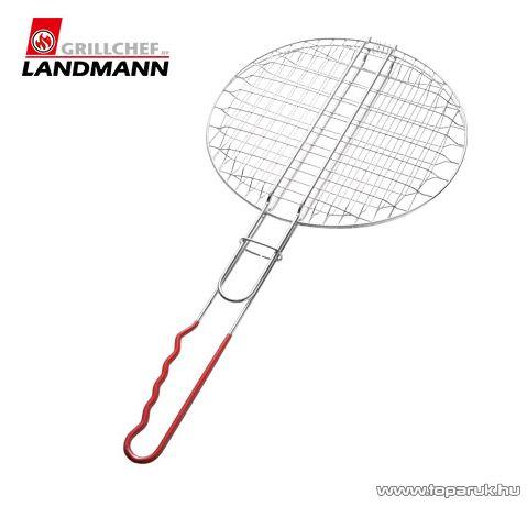 Landmann 0289 Krómozott grill hamburgersütő, piros nyéllel