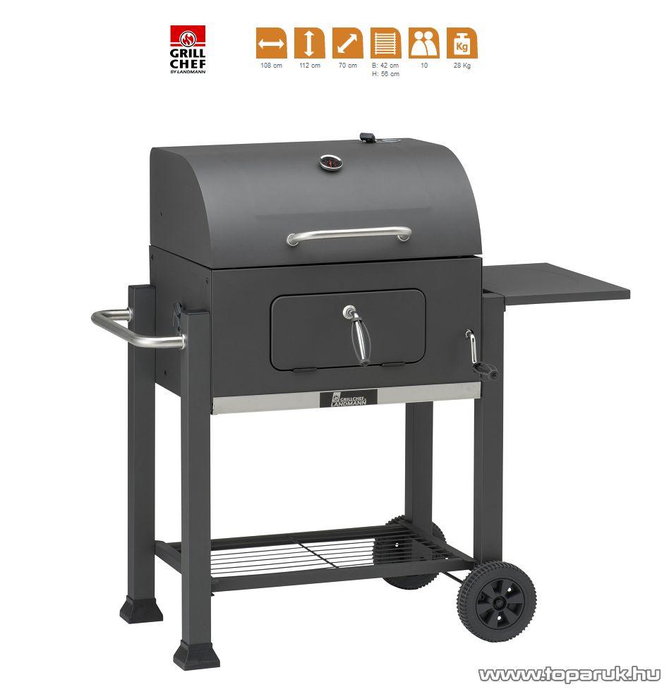 Landmann 11503 Grillchef fedeles faszenes grill, grillsütő kocsi, fekete (10 személyes)