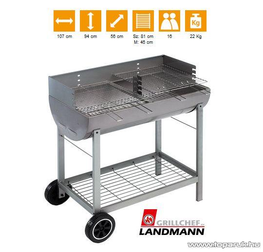 Landmann 11543 Faszenes, porszórt acélból készült party grillkocsi (16 személyes) - készlethiány