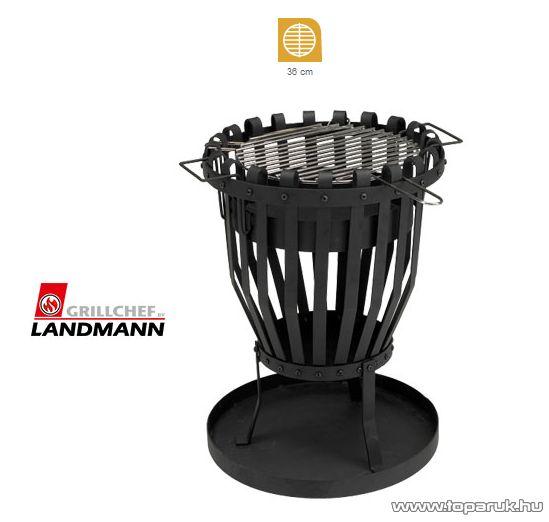 Landmann 11768 Kültéri tüzelőhely, kerek tűzrakó tűzkosár, kivehető zománcozott tűztérrel