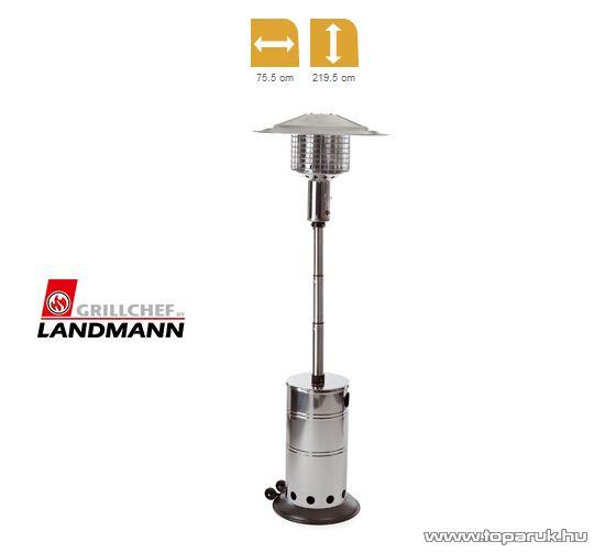 Landmann 12047 SIRIUS INOX Kültéri, gázzal működő rozsdamentes acél kivitelű teraszhősugárzó, 5 - 9.9 kW - készlethiány