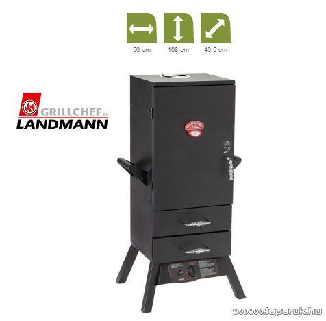 Landmann 12093 Hőálló borítású gázos füstölő szekrény, fekete