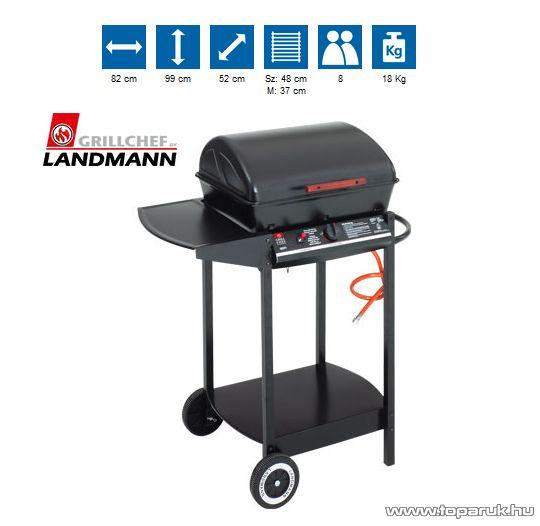 Landmann 12371 Lávaköves party gázgrill kocsi, alumíniumozott acél égőfejekkel, 5.5 kW (8 személyes)