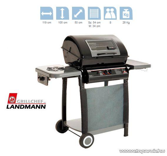 Landmann 12399 Lávaköves party gázgrill kocsi, fokozatmentesen állítható alumíniumozott acél égőfejekkel, 2 x 3.5 kW (8 személyes) - készlethiány