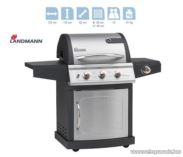 Landmann 12652 MITON PTS 3.1 Party gázgrillkocsi, 3 + 1 gázégővel (12 személyes)