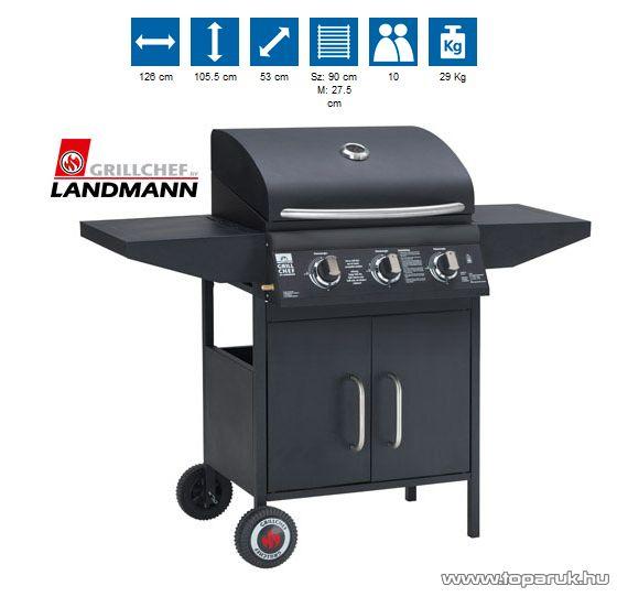 Landmann 12734 3 égős party gázgrillkocsi rozsdamentes acél égőkkel, 3 x 3.2 kW, fekete (10 személyes) - készlethiány
