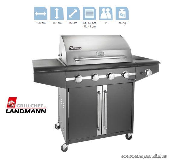 Landmann 12792 AVALON 4 égős party gázgrillkocsi, fokozatmentesen állítható rozsdamentes acél égőfejjel, 4 x 3.8 kW + 1 x 3.5 kW-os oldal égőfej (14 személyes) - készlethiány