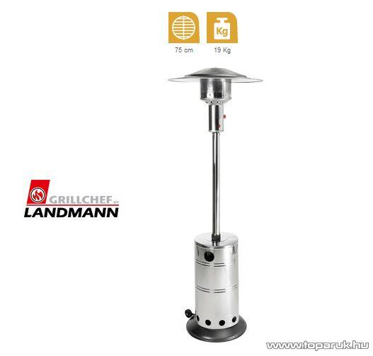 Landmann 12016 INOX Kültéri, gázzal működő rozsdamentes acél kivitelű teraszhősugárzó, 5 - 14 kW
