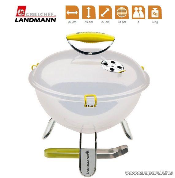 Landmann 31376 Piccolino faszenes asztali gömbgrill, zománcozott fedéllel és tűztérrel, fehér (4 személyes)