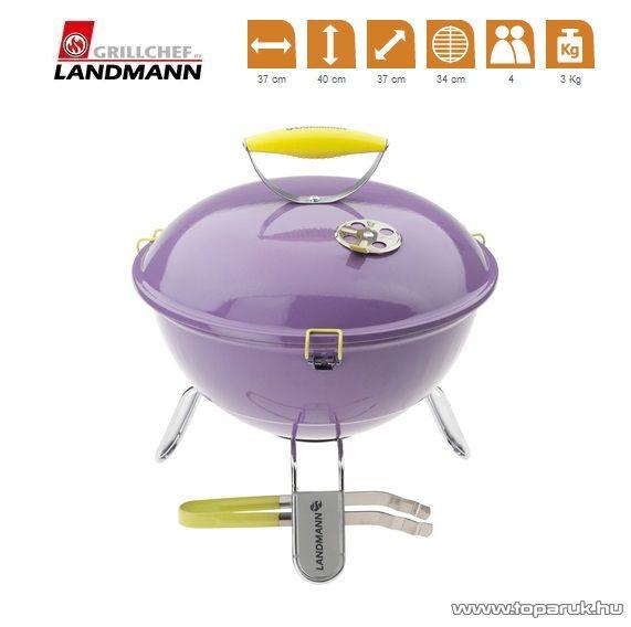 Landmann  31378 Piccolino faszenes asztali gömbgrill, zománcozott fedéllel és tűztérrel, lila (4 személyes)