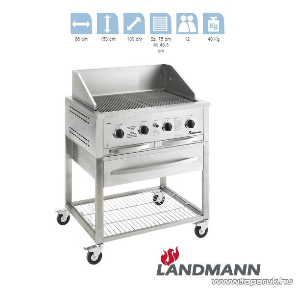 Landmann 12430 Professzionális INOX gázgrillkocsi grillsütő, 4 égőfejes gáz pecsenyesütő (12 személyes) - készlethiány