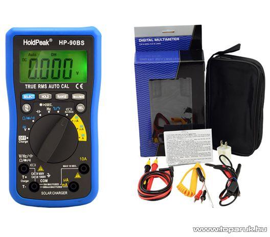 HOLDPEAK 90BS Napelemes digitális multiméter, feszültség, áram, ellenállás, kapacitás, frekvencia, TRMS mérőműszer