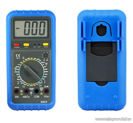 HOLDPEAK 9802 Digitális multiméter, VDC, VAC, ADC, AAC, ellenállás, kapacitás, dióda, hFE, szakadás mérőműszer - megszűnt termék: 2015. október