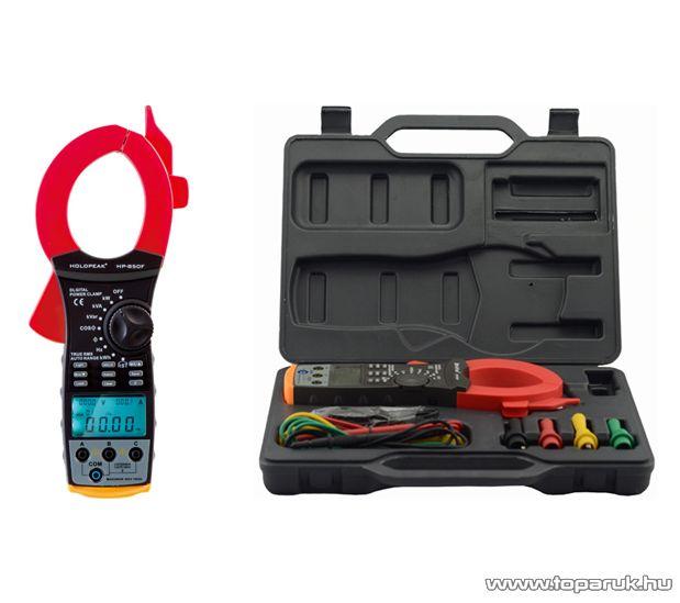 HOLDPEAK 850F Digitális lakatfogó, multiméter, kofferben, USB csatlakozóval, VAC, AAC, teljesítmény, fázisszög, frekvencia, TRMS mérőműszer