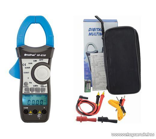 HOLDPEAK 870F Digitális lakatfogó, multiméter, VAC, AAC, teljesítmény, fázisszög, frekvencia, TRMS mérőműszer