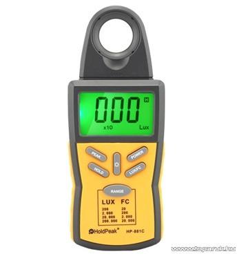 HOLDPEAK 881C Digitális fénymérő (fényerősségmérő) mérőműszer + hord táska, 0.1-200000 Lux, adattartás