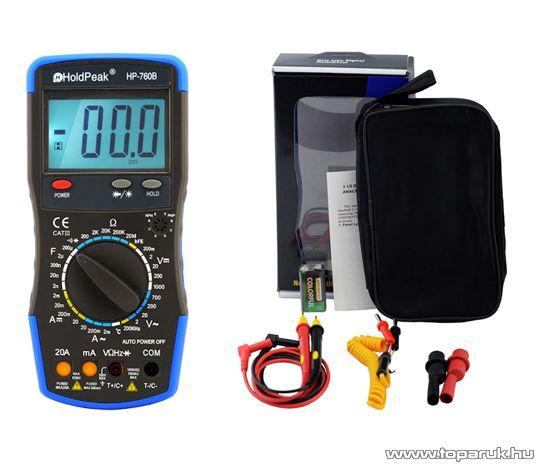 HOLDPEAK 760B Digitális multiméter, VAC, VDC, AAC, ADC, ellenállás, kapacitás, frekvencia, hőmérséklet mérőműszer