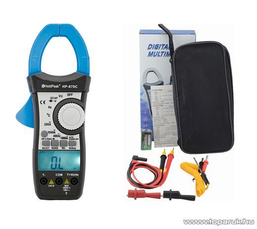 HOLDPEAK 870C Digitális lakatfogó, multiméter, 2 kijelzős, VDC, VAC, ADC, AAC, ellenállás, kapacitás és hőmérséklet mérőműszer