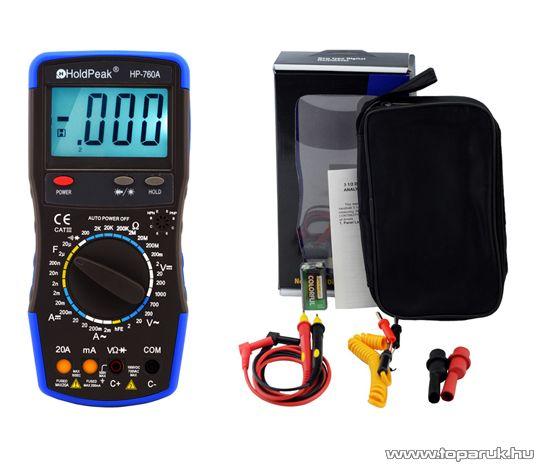 HOLDPEAK 760A Digitális multiméter, VAC, VDC, AAC, ADC, ellenállás, kapacitás, dióda, hFE, szakadás mérőműszer