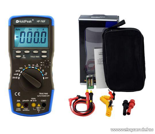 HOLDPEAK 760F Digitális multiméter, VDC, VAC, ADC, AAC, frekvencia, kapacitás, hőmérséklet, hFE,dióda,TRMS mérőműszer